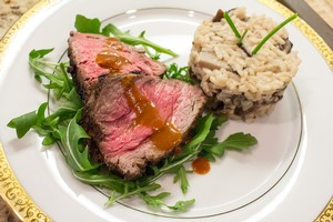 Filet Mignon with mushroom risotto - Fog Crest Vineyard