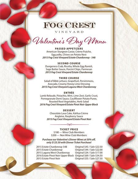 Fog Crest Vineyard Blog Valentine S Day Dinner At Fog Crest Vineyard