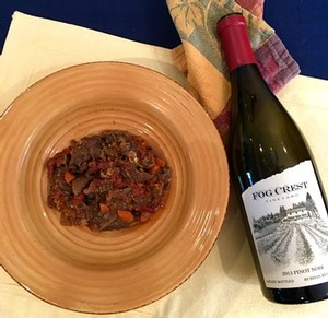 beef stew and Fog Crest Vineyard Pinot Noir