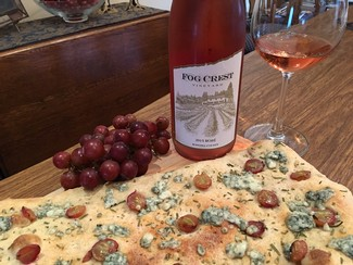 Flatbread with Fog Crest Vineyard Rosé