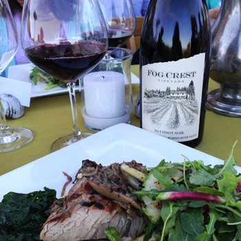 Pork Dinner with Fog Crest Vineyard Estate Pinot Noir 2012