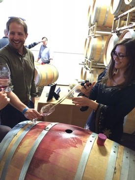 tasting from the wine barrel - Fog Crest Vineyard