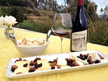 Artisan Cheese Platter at Fog Crest Vineyard with 2012 Estate Pinot Noir
