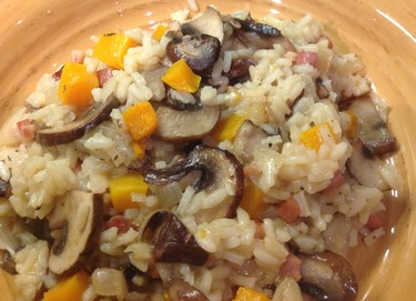 Butternut Squash and Mushroom Risotto with Fog Crest Vineyard Pinot Noir