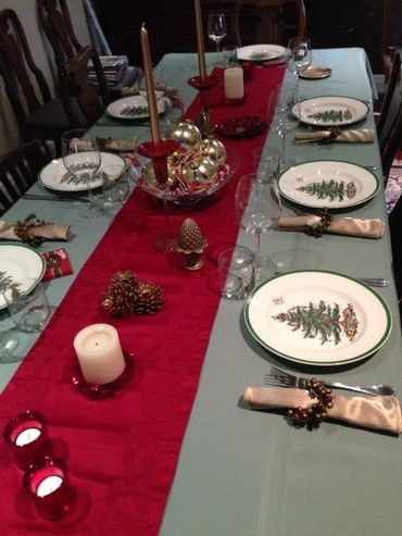The Only Differences Are The Color Of The Tablecloth And Napkins. I Also  Switched From Silverware To Flatware With A Red Handle And Gold Trim.