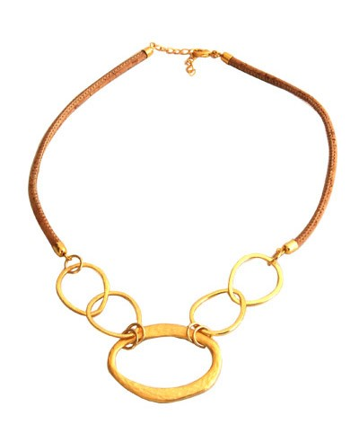 Cork Choker w/ Gold Tone Rings Necklace Image
