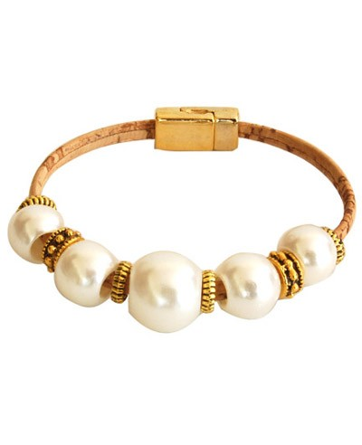 Cork Bracelet w/ Faux Pearls & Beads