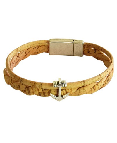 Natural Cork Bracelet w/ Anchor