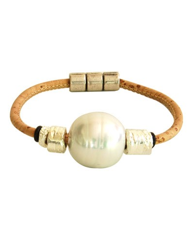 Cork Bracelet w/ Artificial Pearl
