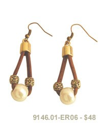 Earring w/Artificial Pearl