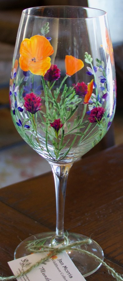 Hand Painted Wildflower Glass Image