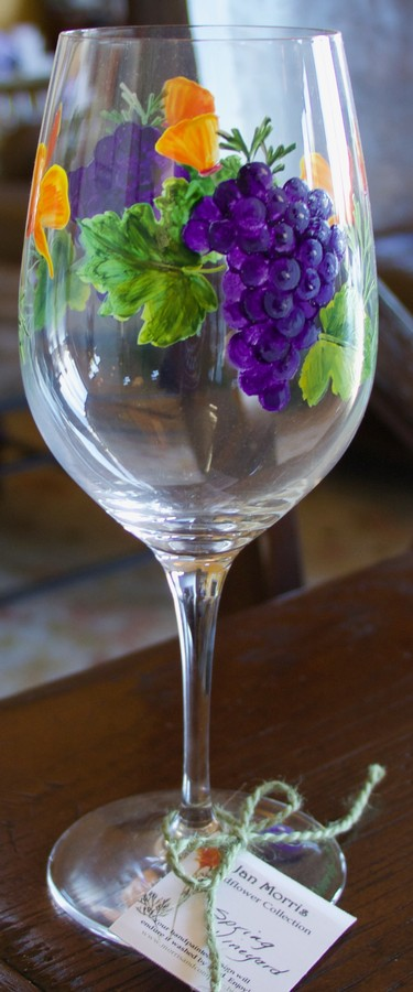 Hand Painted Grape Glass Green Image