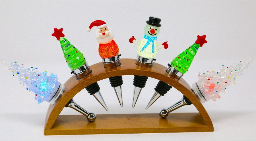 Holiday LED Light Up Wine Bottle Stoppers