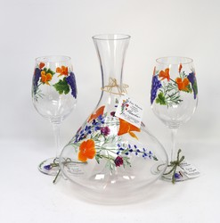 Painted wine decanter with wine glasses
